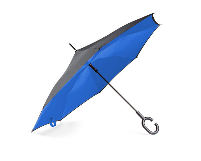 parasol skladany odwrotnie niebieski