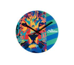okragly drewniany zegar reklamowy