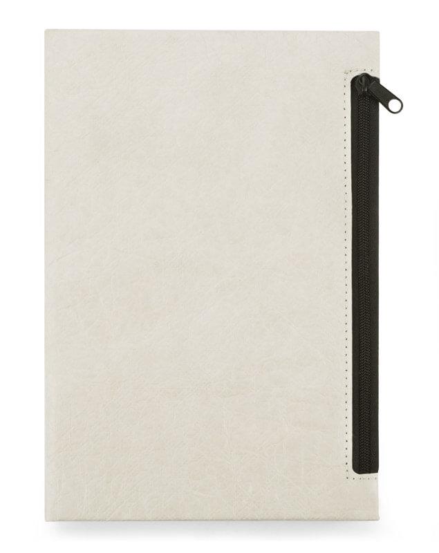 notes A5 eko z kieszenią na zamek kolor biały