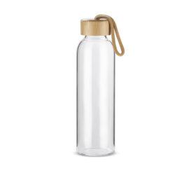 szklana butelka z bambusowa zakretka pusta
